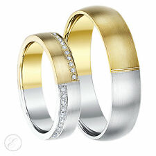 9ct Two-Colour His& Hers Diamond Wedding Ring 5 & 6mm