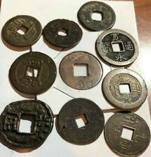 ORIENTAL LOT OF 10 SQUARE HOLED COINS. VARIOUS GRADES, FREE USA SHIPPING