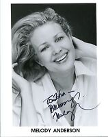 MELODY ANDERSON HAND SIGNED 8x10 PHOTO+COA        LOVELY ACTRESS   TO JOHN