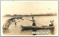 EXAGGERATED FISH 1912 ANTIQUE REAL PHOTO POSTCARD RPPC FISHING