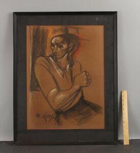 Lrg MICHAEL LENSON Social-Realist Portrait Charcoal Sketch Drawing, WPA Artist