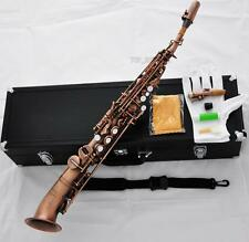 Professional Soprano Saxello Saxophone Red Antique Brass SAX High F# G Pearl Key