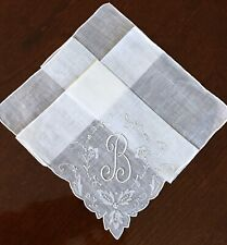 Vintage Madeira Embroidered White Linen Hankie Monogram Initial B Wedding Hanky
