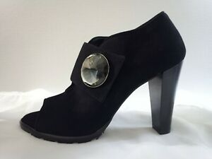 AMALFI by Rangoni Black Suede Open Toe Bootie Heels with Crystals sz 5M