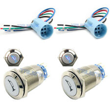 2x19mm Socket Plug+2x12V Momentary Blue Car Horn Push Button Toggle Light Switch