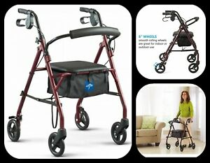 Steel Rollator Walker Bariatric Heavy Duty Wheels Mobility Folding Adult 350 lbs