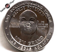 $1 SLOT TOKEN COIN MGM GRAND CASINO 1994 GDC GEORGE FOREMAN BOXING LAS VEGAS NEW