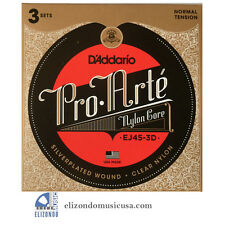 D'Addario EJ45 3 Set Pk. Pro-Arte Nylon Classical Guitar Strings UPC 01995495436