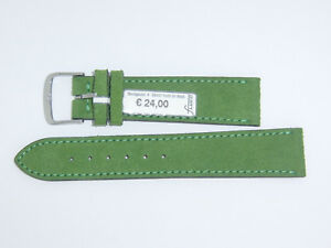 """FLUCO (Germany) Suede Leather Watch Band Strap 20 mm Green """"Velour"""""""