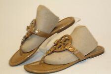 Tory Burch Miller Womens 7.5 M Brown Monogram Slip On Sandals Shoes
