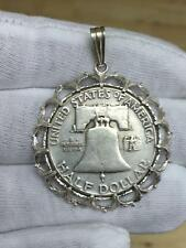 1952 United States Half Dollar Bell Sterling Silver Coin Medal Token Necklace