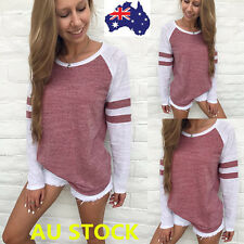 Autumn Women Casual Loose Long Sleeve T-shirt Striped Blouse Party Crop Tops Tee