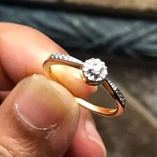 AAA Natural Diamond 9k Yellow Gold Engagement Designer Ring sz 6
