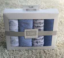 Hudson Baby 4-pack Swaddle Blankets Blue Airplane Cloud 100% Cotton Muslin 46x46