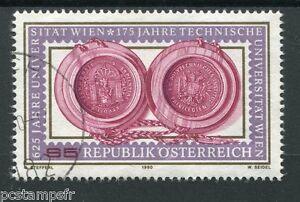 AUTRICHE, 1990, timbre 1813, 625° ANNIVERSAIRE UNIVERSITE VIENNE, oblitéré