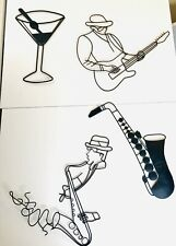 Wall Art Metal Sculptures Jazz Musicians Saxaphone and Martini Glass Set of 4