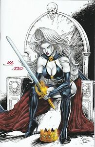 """Lady Death Chaos Rules 1 Queen Death  """"King Spawn Homage"""" Numbered W/COA NM"""