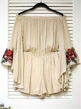 natural floral embro ruffle off shoulder romper M w/ anthropologie earrings