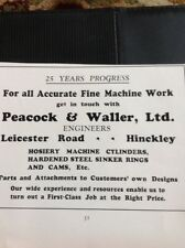 N1-1 Ephemera 1935 Hinckley Advert Peacock & Waller Ltd Machine Work