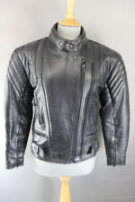 AKITO BLACK LEATHER BIKER JACKET + REMOVABLE BACK/SHOULDER/ELBOW ARMOUR: SIZE 8