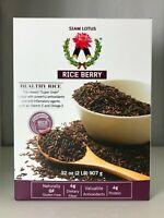 Siam Lotus Rice Berry Thai Riceberry Purple Long Grain Black Rice 2 lbs (32 oz)