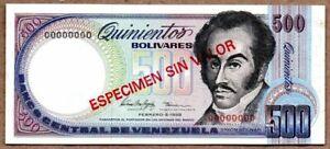 *Venezuela 500 bs. UNC Specimen. 5FEB98