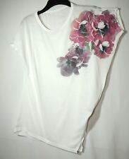 WHITE PINK LADIES PARTY CASUAL TOT BLOUSE TUNIC SIZE M MILL PURPLE 3D FLOWER