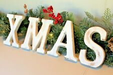 """LARGE SHABBY CHIC VINTAGE WHITE WOODEN LETTERS """"XMAS"""" CHRISTMAS DECORATION"""