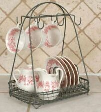 New French Country Rustic METAL PLATE CUP CADDY Dish Holder Rack Basket