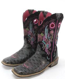 womens black pink ARIAT rodeobaby ROCKER cowboy western boots square toe 9.5 B M