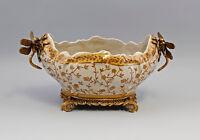 9937140-dss Bronze Ceramics Jardiniere IN Art Nouveau Style Dragonflies 20x38m