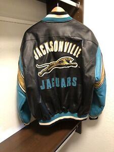 NEW VINTAGE MEN'S LARGE MULTI-COLOR JACKSONVILLE JAGUARS NFL 100% LEATHER JACKET