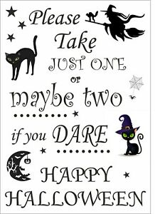 Please take just one .. Happy Halloween sign, decorations trick or treat sweets