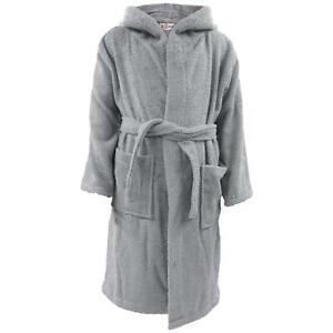 Kids Girls Boys Bathrobe Soft Terry Grey Hooded Robe Luxury Nighty Dressing Gown
