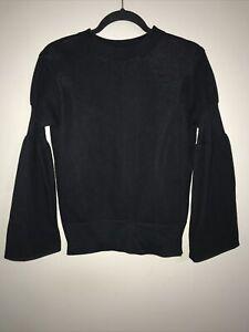 Sacai Black Bell Sleeve Sweatshirt With Zipper Side Closure Size 1 (Small)