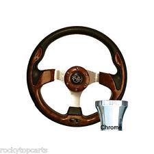 EZGO Medalist/TXT Golf Cart Woodgrain 12.5 Steering Wheel & Chrome Adapter Kit