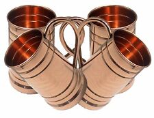 Large Tankered Copper Moscow Mule Mug 20 Oz Set of 4 with copper handle