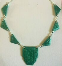 Crafted Architectural Necklace silver plated Pearly Green Art Deco Hand