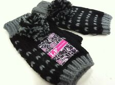 LADIES FINGERLESS MITTS WITH POM POM WINTER KNITTED GLOVES mittens black grey