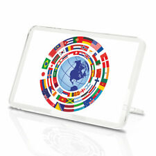 Earth Globe Flags Vinyl Classic Fridge Magnet -  Earth Map Label Fun Gift #9307
