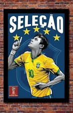 2018 World Cup Soccer Russia | TEAM BRAZIL Poster | 13 x 19 inches