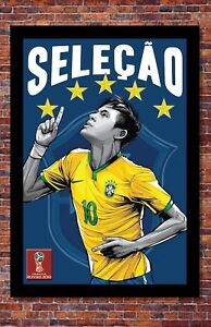 2018 World Cup Soccer Russia   TEAM BRAZIL Poster   13 x 19 inches
