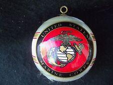 Vtg USMC United States Marine Corps Satin Ornament!  2 SIDED!  EMBLEM WHITE