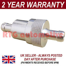 "SILVER 5/16"" METAL UNIVERSAL IN LINE FUEL FILTER ANODISED ALUMINIUM"
