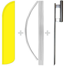 Solid Yellow 15' Tall Windless Swooper Feather Banner Flag & Pole Kit