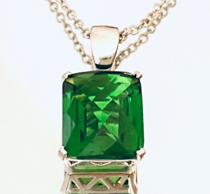 P40810G Classic Green Helenite Rectangle (8x10mm) Solid 925 Silver Pendant