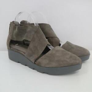 Eileen Fisher Wedge Sandals 10 Buoy Suede Criss-Cross Back Zip Gray Smoke