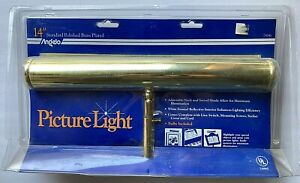 """ANGELO Large 14"""" Polished Brass Picture Light  Model 75041 / NEW IN PACKAGE"""