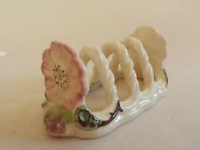 Rare Art Deco -  Shorter & Son Ltd Pink Dog Rose on White Toast Rack