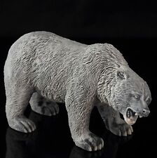 Grizzly Bear Marble Sculpture Russian Stone Art Wild Animal Figurine Statue 5.2""